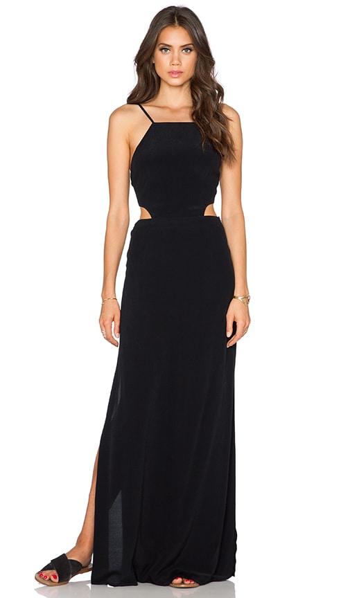 J.O.A. Side Cut Out Maxi Dress in Black
