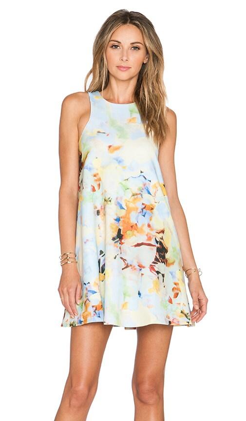 J.O.A. Round Neck A-Line Dress in Pastel Multi