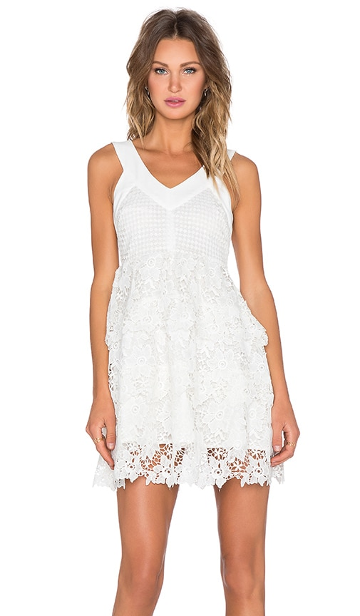 J.O.A. Layered Lace Dress in White