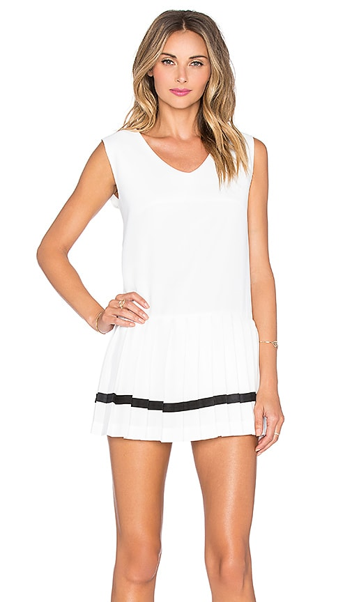 J.O.A. Pleated Skirt Dress in White