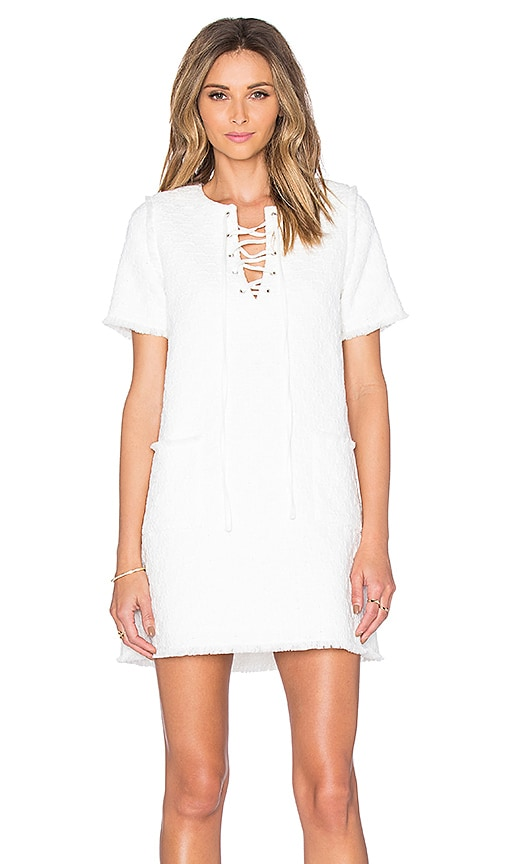 J.O.A. Lace Up Shift Dress in White