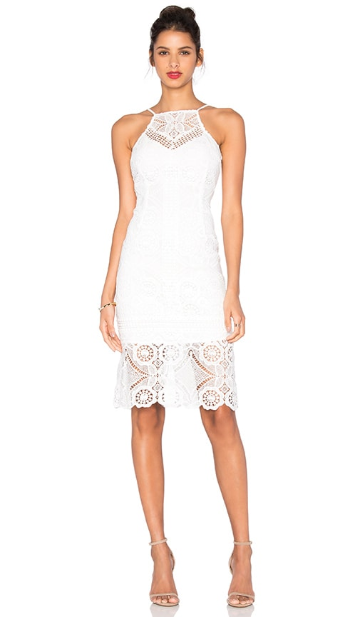 J.O.A. Sleeveless Square Neck Lace Dress in White