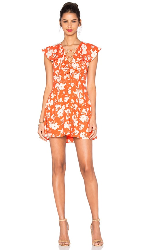 J.O.A. Sleeveless Lace Up Floral Dress in Orange Floral