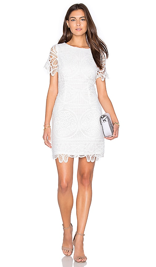 J.O.A. Short Sleeve Lace Dress in White