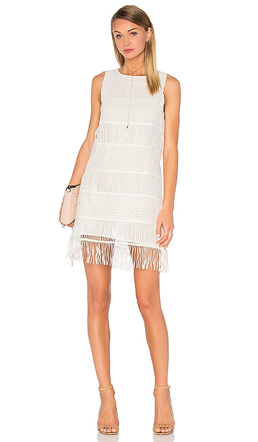J.O.A. Sleeveless Fringe Mini Dress in White