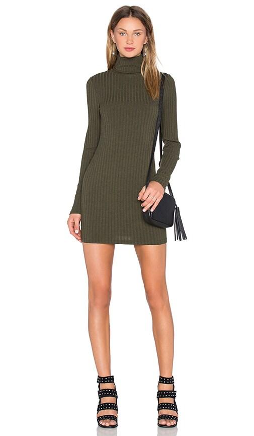 J.O.A. Long Sleeve Turtleneck Dress in Olive