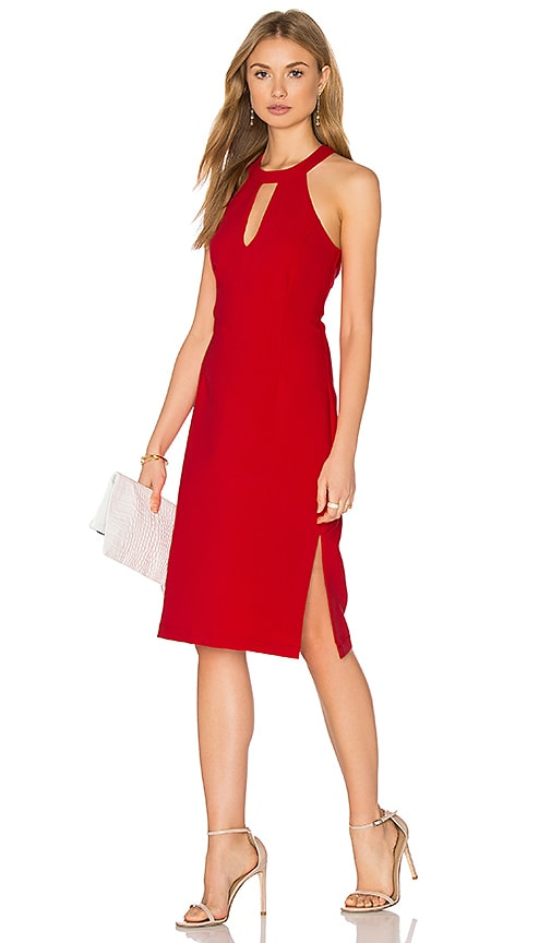 J.O.A. Sleeveless Front Keyhole Midi Dress in Red