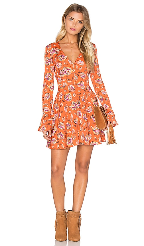 J.O.A. Long Sleeve V Neck Floral Dress in Rust