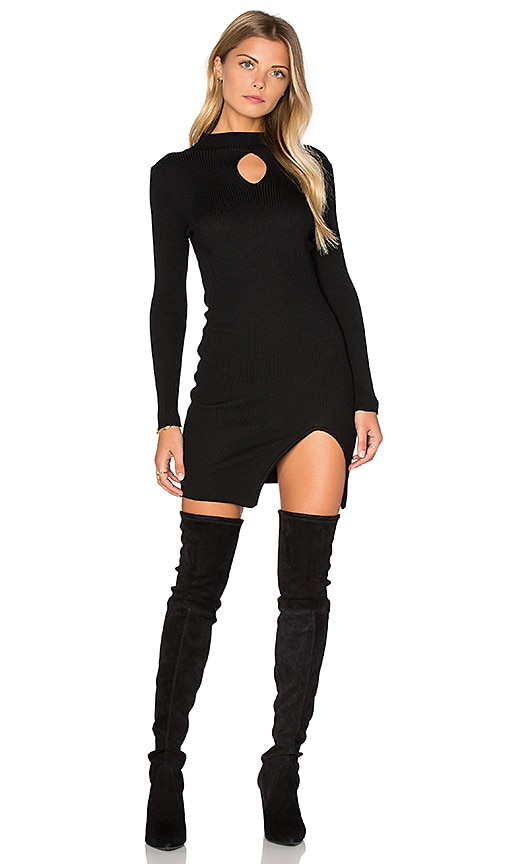 J.O.A. Long Sleeve Front Key Hole Dress in Black