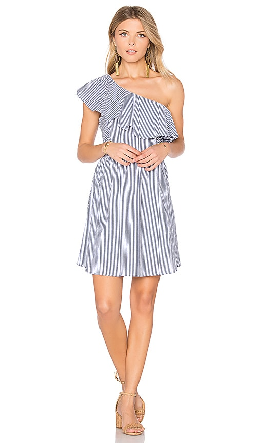 J.O.A. One Shoulder Stripe Mini Dress in Blue