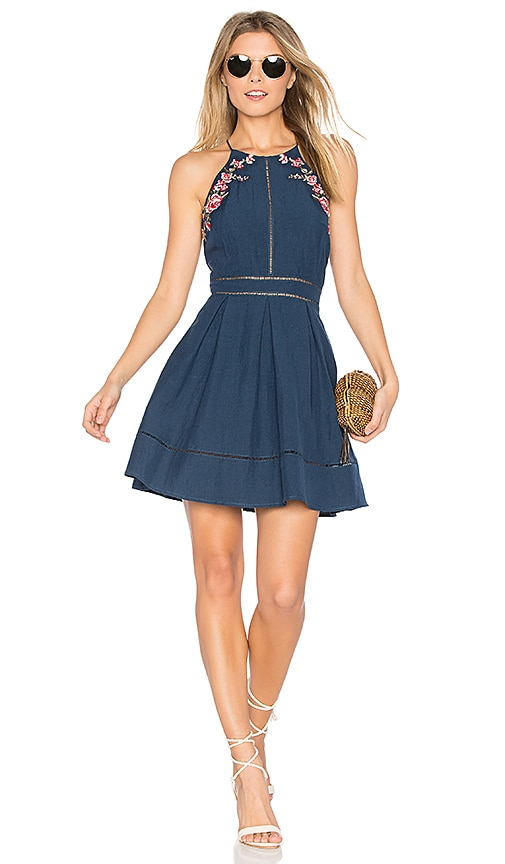 J.O.A. Flower Embroidery Dress in Navy