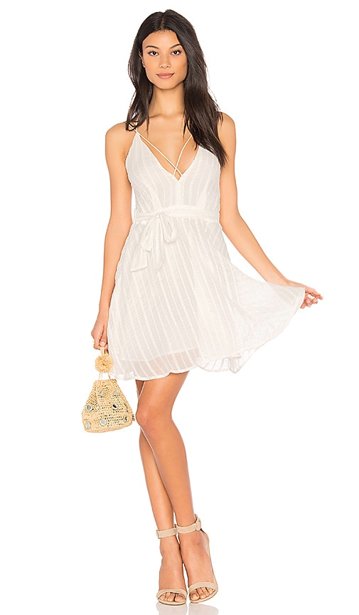 J.O.A. Low Neck Strappy Dress in White