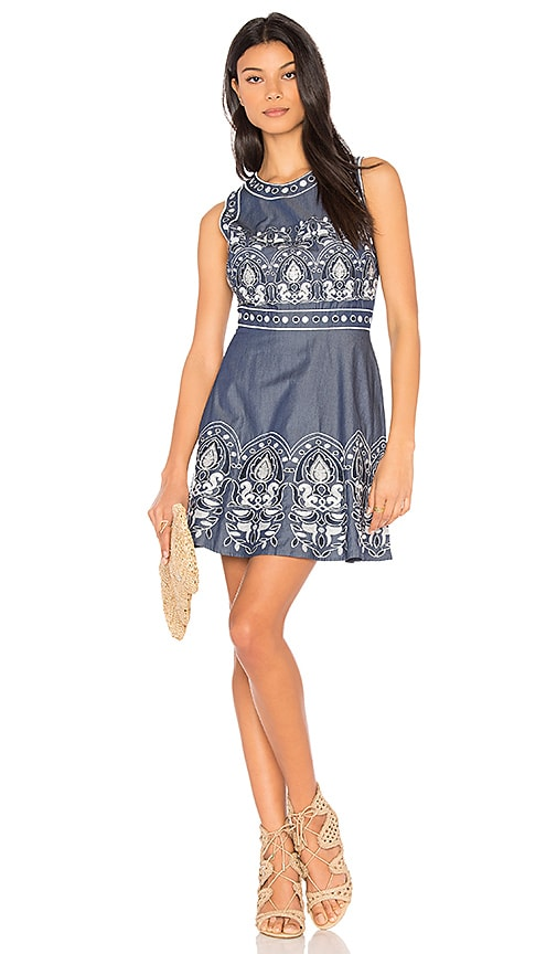 J.O.A. Embroidered Fit And Flare Dress in Blue