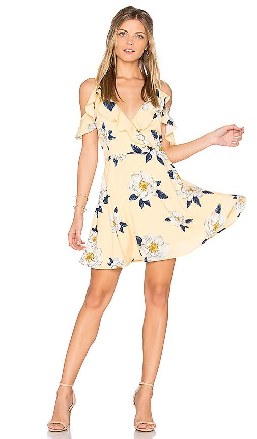Flower Print Cold Shoulder Flare Dress