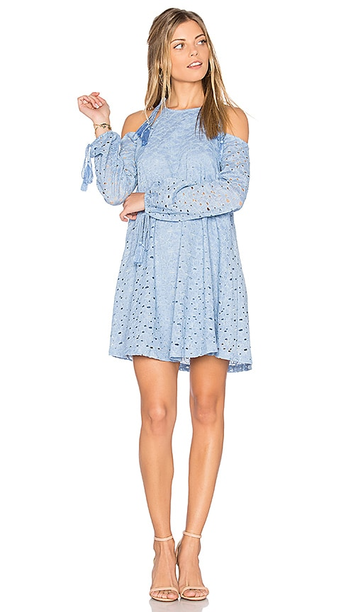 J.O.A. Cold Shoulder Lace Dress in Blue