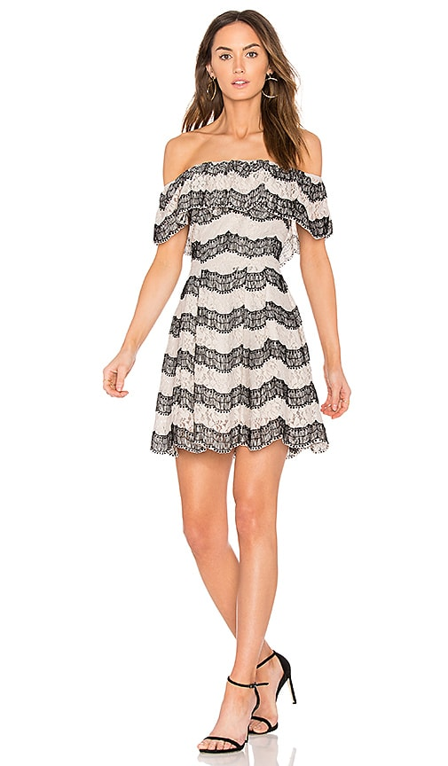 J.O.A. Tiered Off The Shoulder Lace Dress in Light Gray