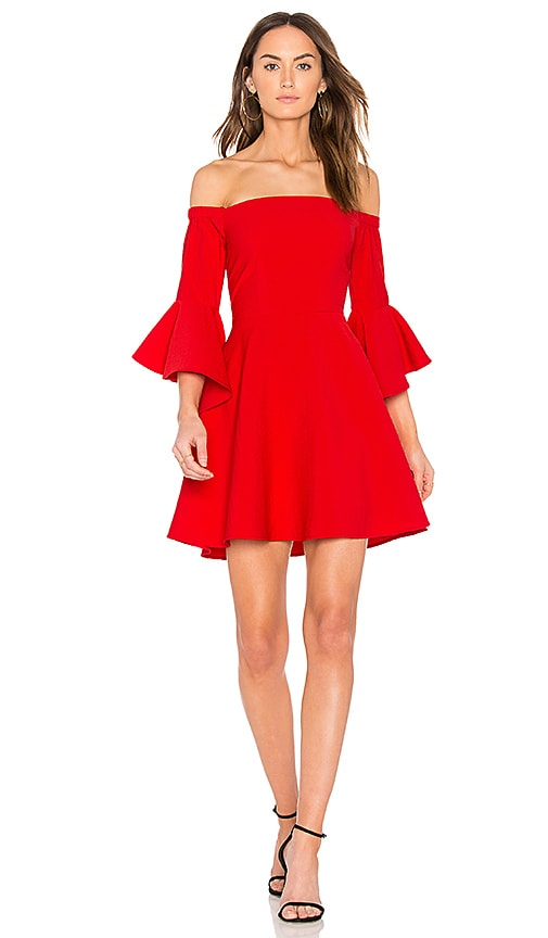 J.O.A. Bell Sleeve Off The Shoulder Dress in Red
