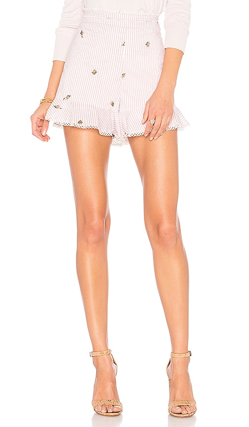 J.O.A. Embroidered Ruffle Shorts in Pink
