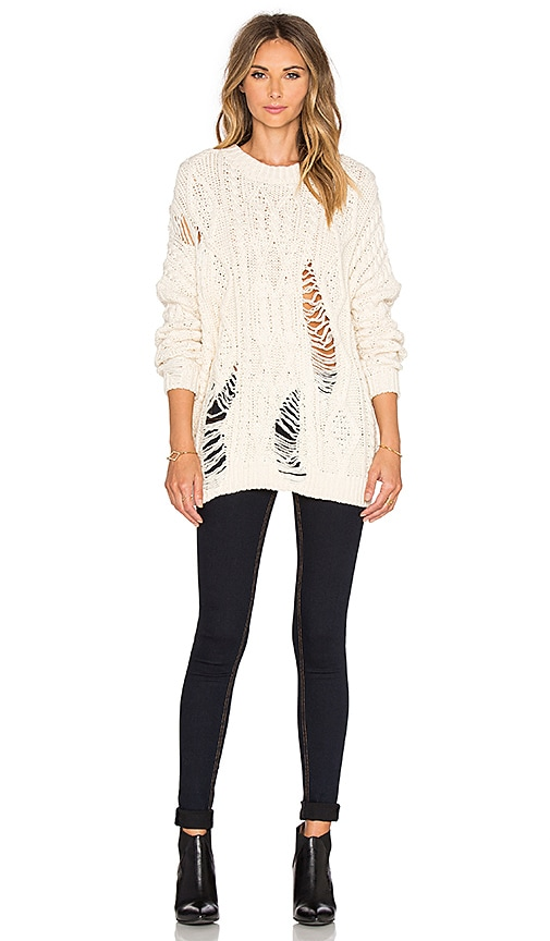 J.O.A. Distressed Crew Neck Sweater in Ivory
