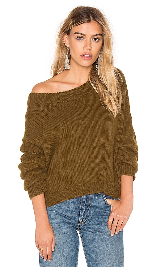 J.O.A. Long Sleeve Pullover Sweater in Green