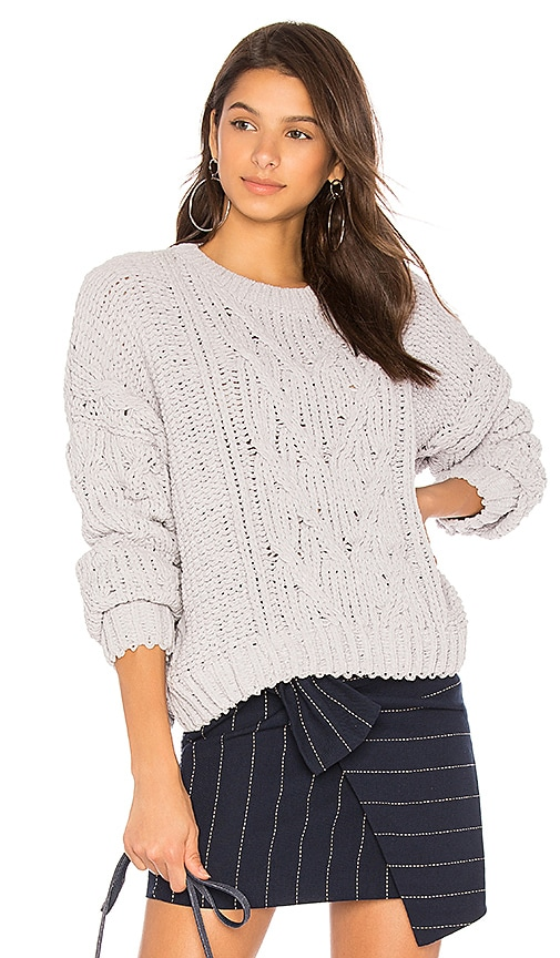 J.O.A. Side Slit Cable Front Sweater in Light Gray