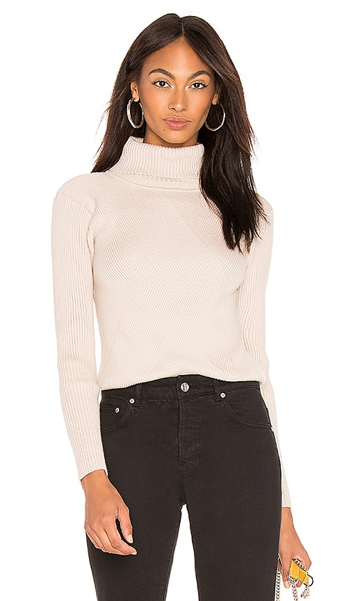 Turtleneck Ribbed Top In Cream