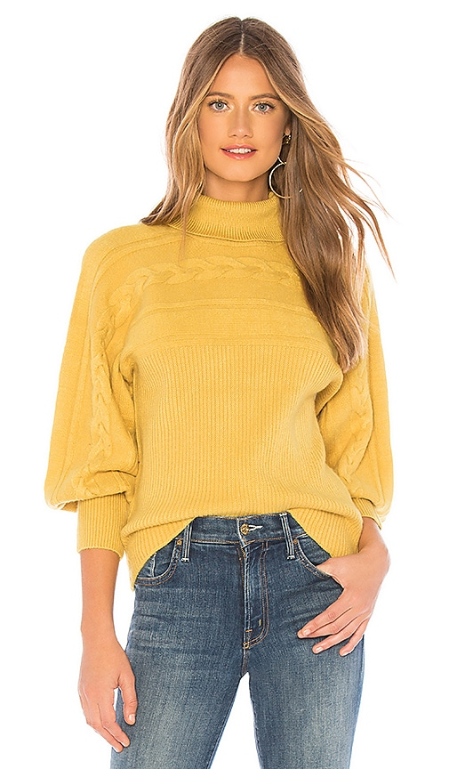 Turtleneck Cable Knit Pullover Sweater In Mustard