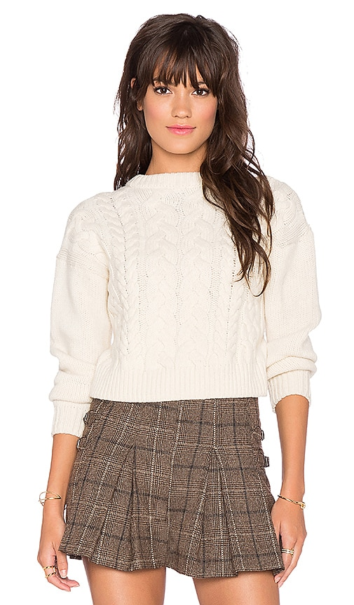 J.O.A. Round Neck Cable Knit Sweater in Ivory