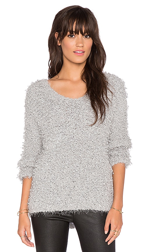 J.O.A. Boucle Knit Sweater in Grey