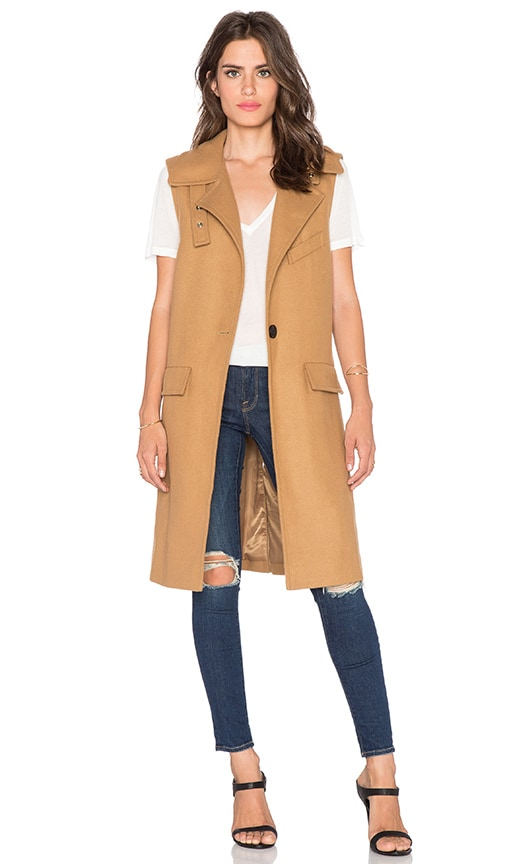 Sleeveless One Button Coat