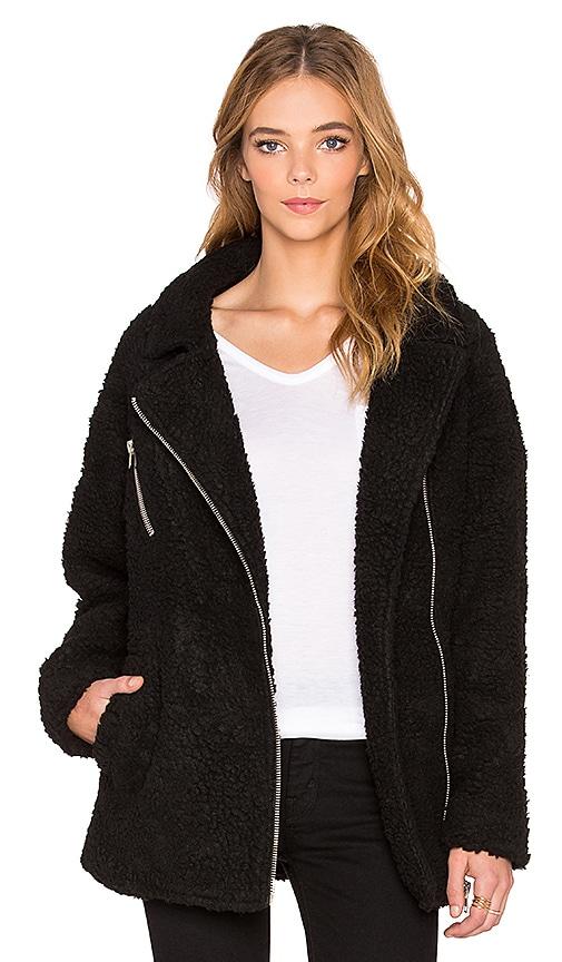 J.O.A. Asymmetric Zip Up Shearling Jacket in Black
