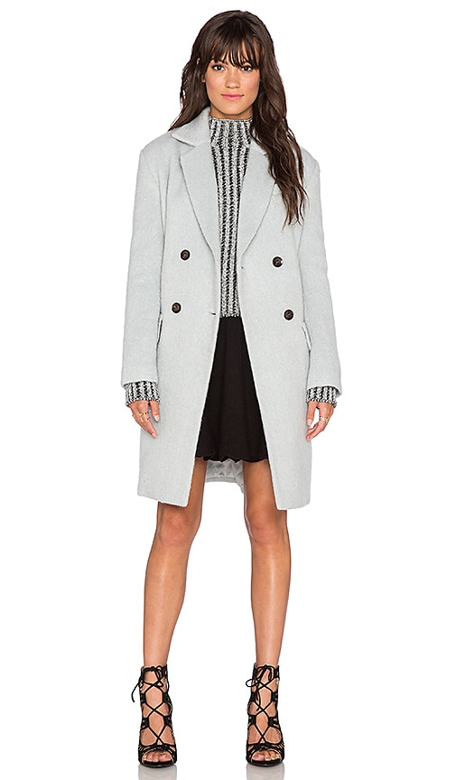 J.O.A. Double Breasted Notched Collar Coat in Light Blue