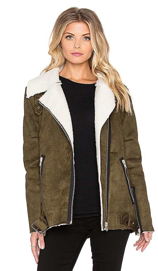 Asymmetric Suede Shearling Jacket