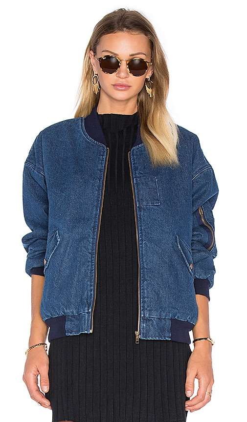 J.O.A. Front Pocket Bomber Jacket With Faux Sherpa Lining in Denim
