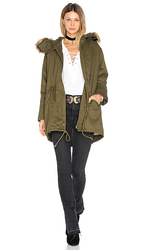 J.O.A. Drawstring Jacket with Faux Fur Trim in Green