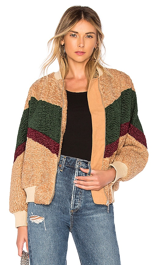 Colorblock Teddy Faux Fur Jacket In Beige & Forest