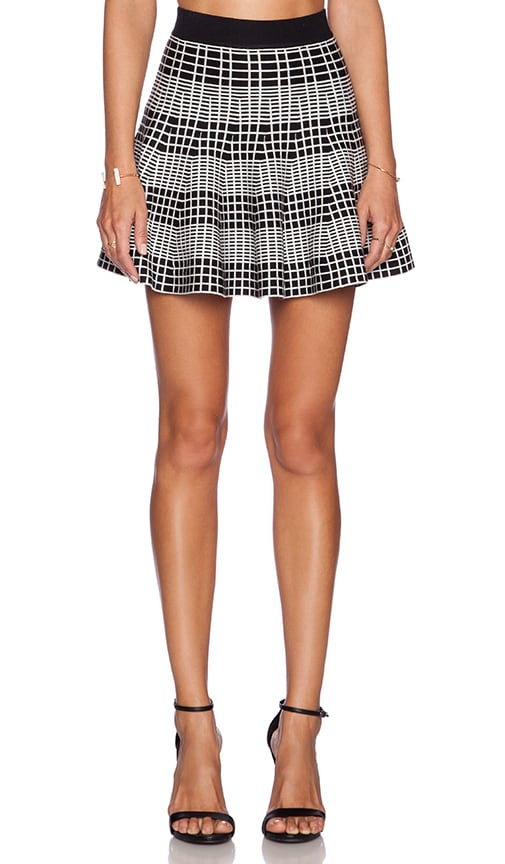 Knit Plaid Skater Skirt
