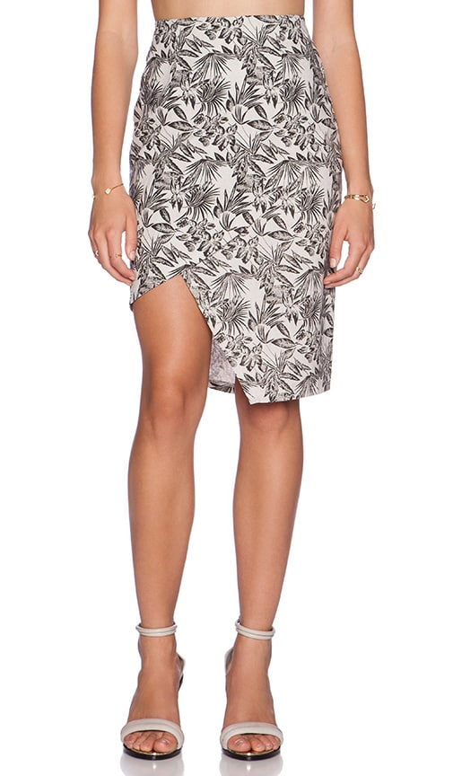 J.O.A. Printed Asymmetric Pencil Skirt in Beige