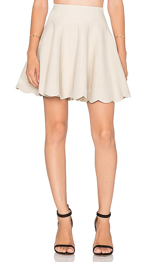 J.O.A. Scallop Hem Skirt in Ivory