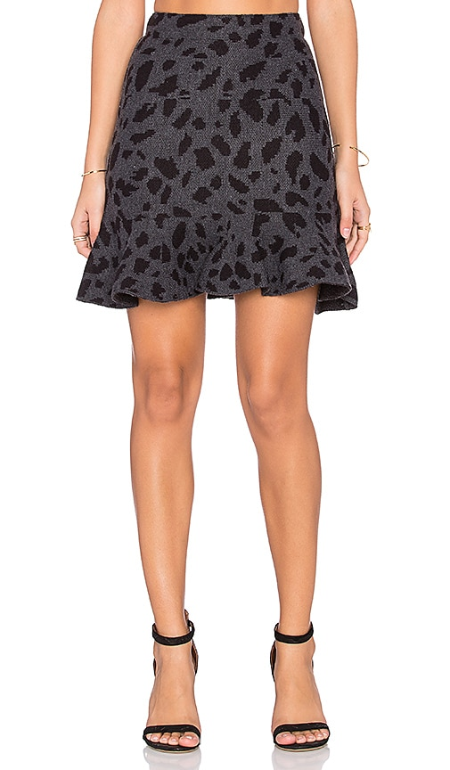 J.O.A. Flounce Leopard Skirt in Charcoal