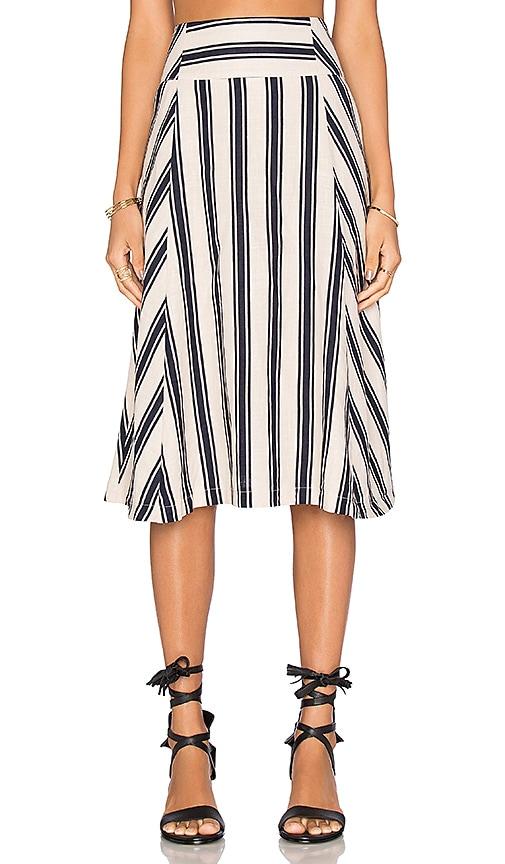 J.O.A. Stripe Midi Skirt in Navy