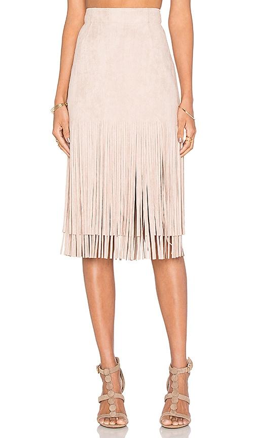J.O.A. Fringe Midi Skirt in Mauve