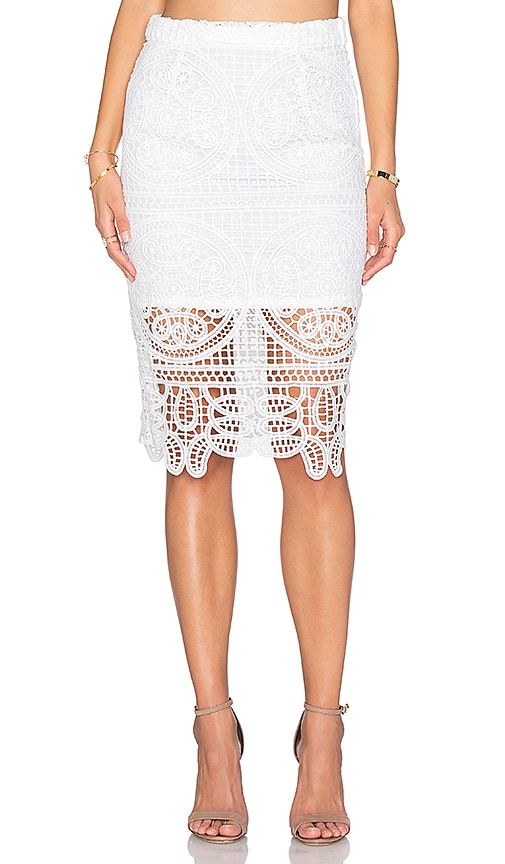J.O.A. Lace Midi Skirt in White