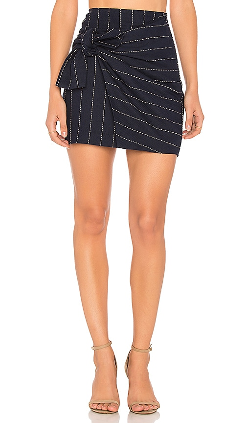 J.O.A. Tie Front Mini Skirt in Navy