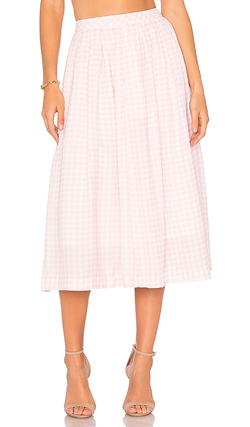 J.O.A. Gingham Midi Skirt in Pink