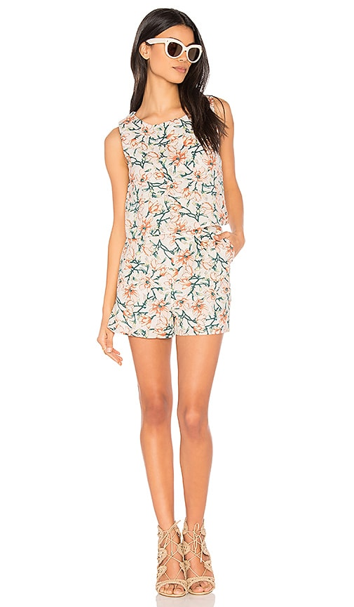 J.O.A. Flower Print Sleeveless Romper in White