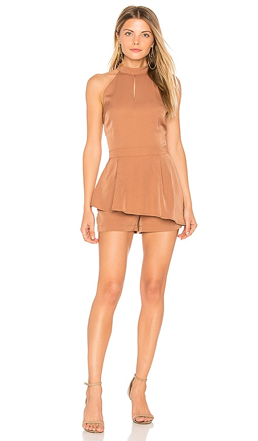J.O.A. Halter Neck Cut Out Romper in Brown