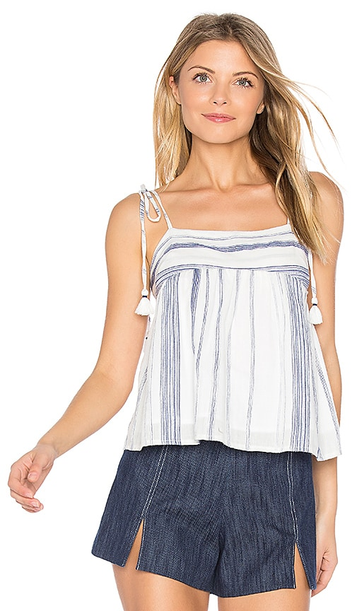 J.O.A. Stripe Tie Shoulder Top in Navy