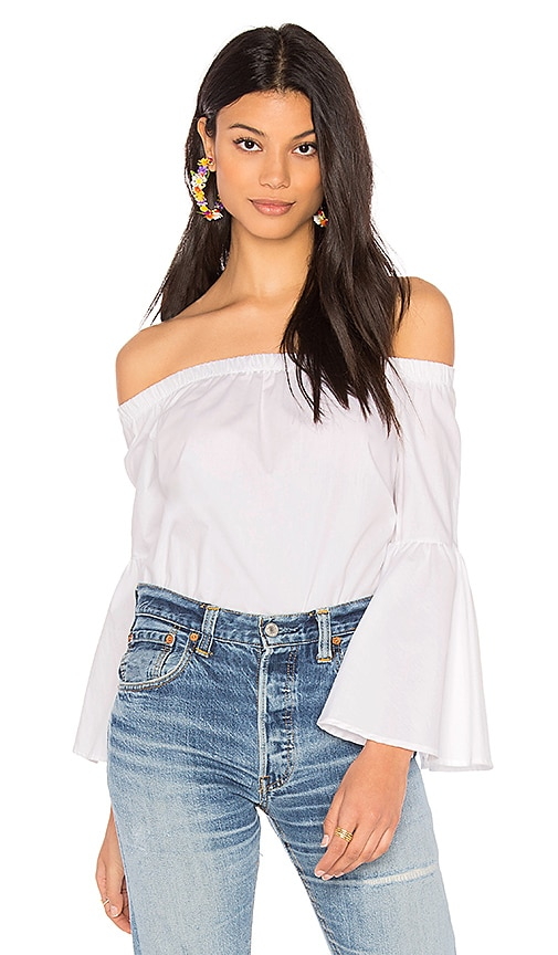 J.O.A. Off The Shoulder Bell Sleeve Top in White