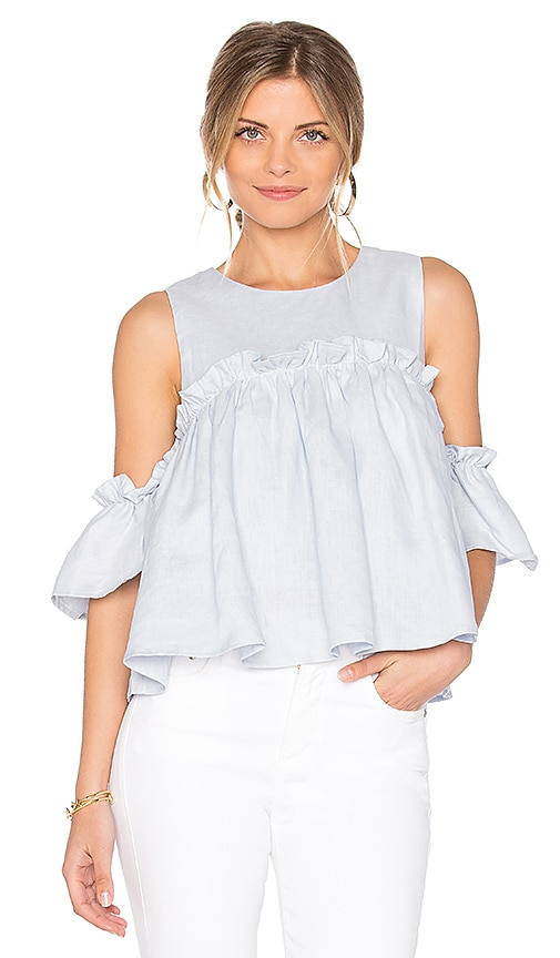 cca4cfa144a77 J.O.A. Layered Ruffle Cold Shoulder Top in Light Blue